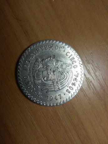 Монета 5 песо 1947 года Мексика