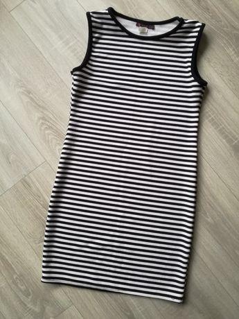 Sukienka w paski, tłoczony materiał, bez rękawków
