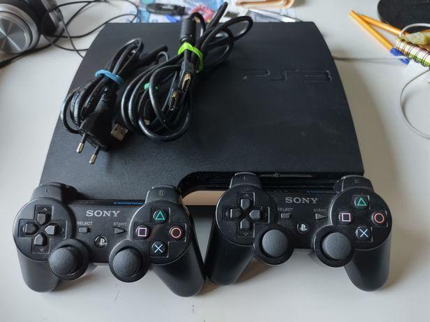 PlayStation 3 PS3 CFW przerobiona + 2 pady kabelki