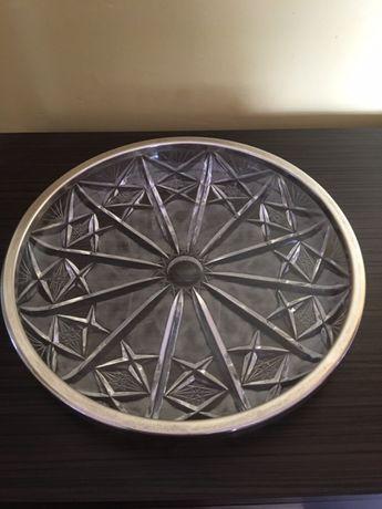 Hefra kryształowa patera okuta platerem