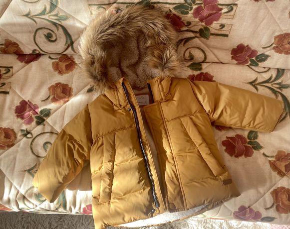 Пуховик Zara. Пухова куртка 86 см, 12-18 міс., зима