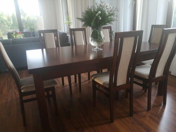 Stół drewniany ciemny orzech 100 cm x 190 cm + rozsuwany 2 x 45 cm