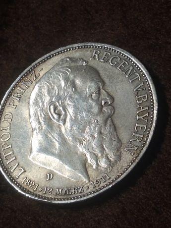 Niemcy, Bawaria 3 Marki 1911 D,