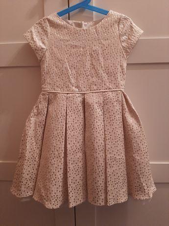 Sukienka na 4 5 lat złota 116 elegancka kropki
