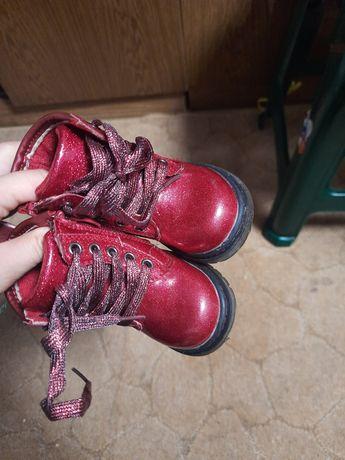 Детские ботинки на девочку, 21 размер, красные, блестящие