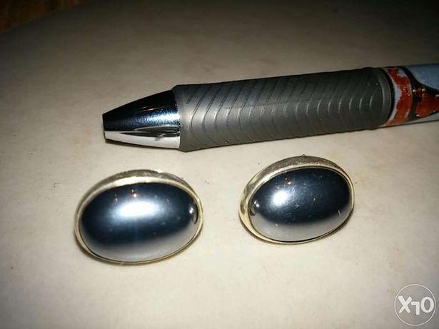 Srebrne kolczyki z oczkiem metalicznym ,grafit