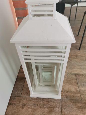 Kpl 3 lampionów białe drewniane
