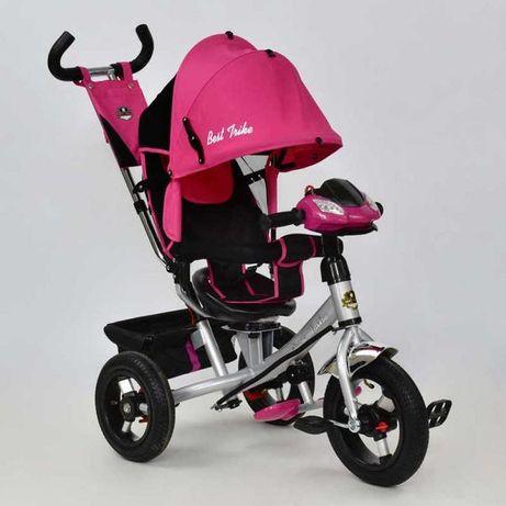 Трёхколёсный велосипед надувные колёса+Фара, Музыка, Розовый, Ровер