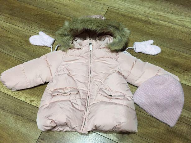 Kurtka zimowa, puchowa Zara rozmiar 86 Dziewczęca Różowa