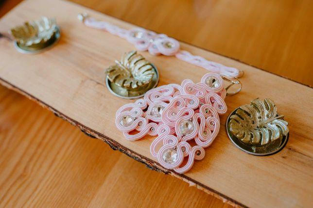 Kolczyki bransoletka ozdoba do włosów zestaw ślubny sutasz pudrowy róż