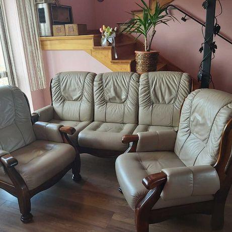 Komplet ze skóry kanapa + 2 fotele