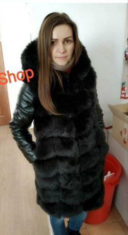 Меховая курточка зима, шуба с капюшоном, длина 90 см, трансформер