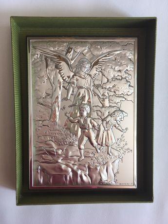 CHRZEST anioł stróż OBRAZEK święty prezent Roczek Komunia srebrny