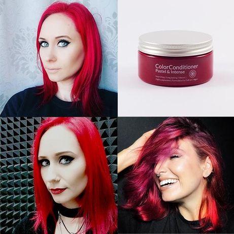 Máscara para pintar cabelos vermelha, vegan e semi-permanente