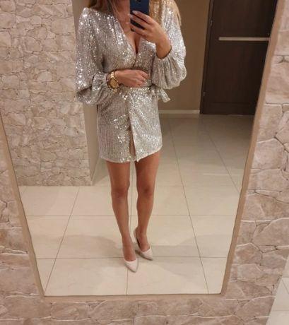 Sukienka mini cekinowa sylwester S / 36