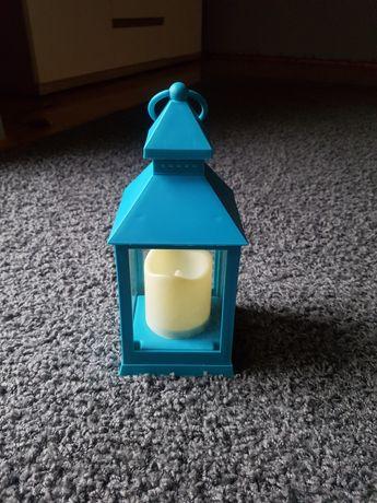 Lampion na baterie turkusowy