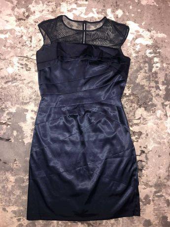 Атласное платье с сеткой
