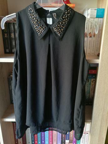 Bluzka koszula mgiełka bez rękawów czarna elegancka roz 38 M jak nowa