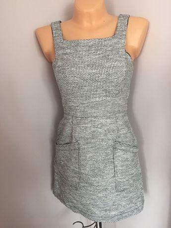 Szara melanżowa sukienka s/m z kieszonkami