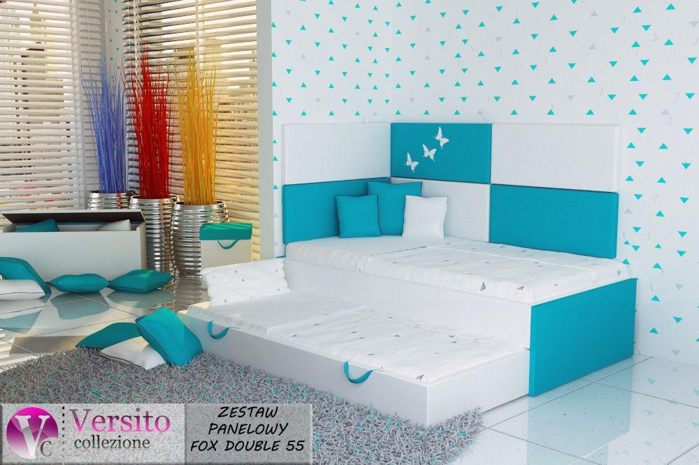 Łóżko piętrowe dla dziecka z 2 materacami+panete tapicerowane,kolory Jastrzębie-Zdrój - image 1