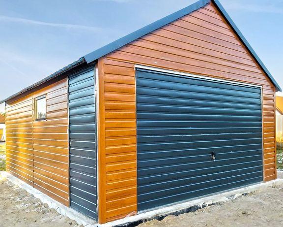 Garaż blaszany dwuspadowy poziomy trapez garaże 4,5x6 imitacja drewna