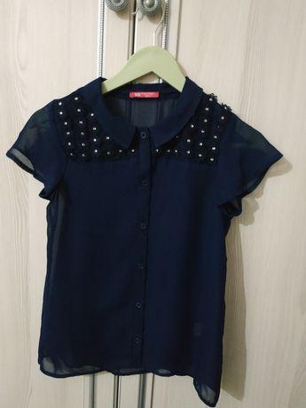 Блузка синяя на девочку 10-11лет
