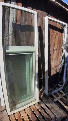 Drzwi pcv balkonowe z ramą 220x90 + okna bez ram 3 szt. 136x74cm