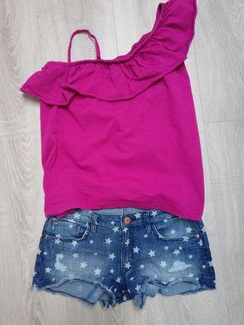 Szorty spodenki jeansowe H&M i bluzeczka Next 158