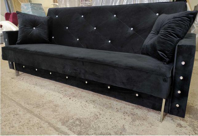 NA RATY sofa kanapa rozkładana wersalka z kryształkami GLAMOUR łóżko