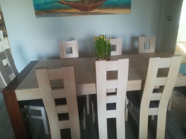 Stół dąb bielony duży, 8 krzeseł, szare, jadalnia,nowoczesny, jak nowe
