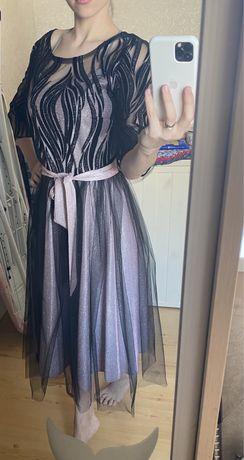 Блестящее сверкающее платье вечернее фатин подкладка двойное юбка