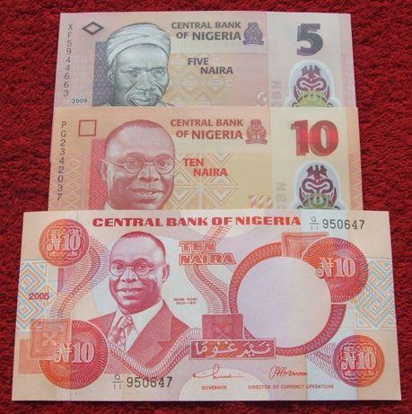 NIGERIA Polimerowe Kolekcjonerskie Banknoty Zestaw - 3 sztuki UNC
