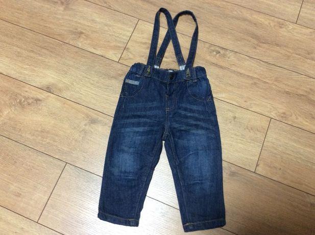 Детские джинсы на подтяжках для мальчика р.80 (9-14 мес)