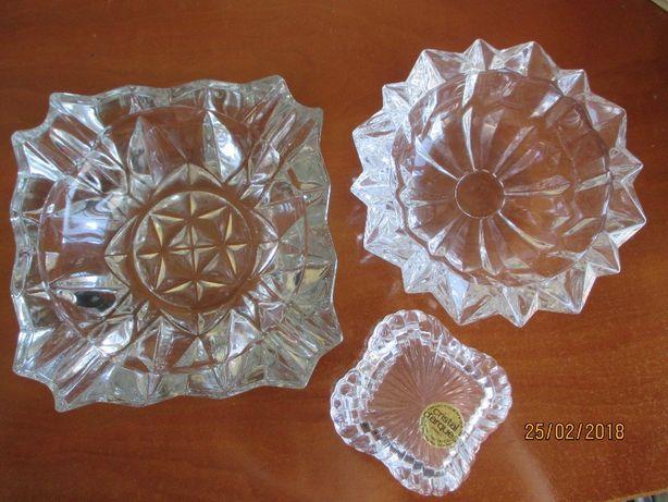 Guarda jóias e 2 cinzeiros meio-cristal
