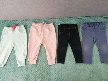 Spodnie 4 pary dziewczynka 9-12 mies na sztuki