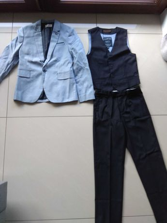 Marynarka kamizelka spodnie rozm.146 chłopięce