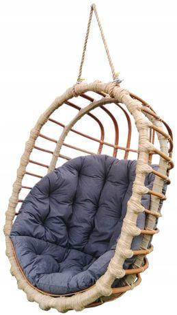 Huśtawka wiklinowa, fotel wiszący OWALNY  + poduszka ciemnoszara