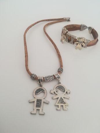 Conjunto de colar com pulseira de cortiça