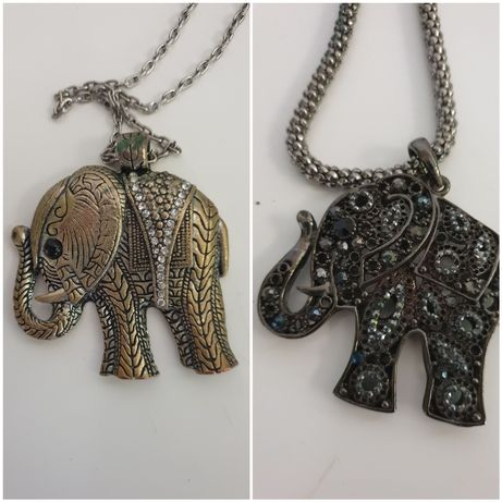 Naszyjnik vintage, wisiorek indyjski słoń, komplet 2 szt.