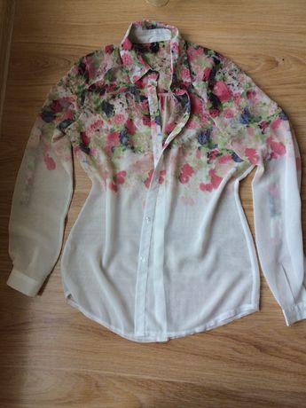Koszula mgiełka w kwiatki biała transparentna długi rękaw S XS