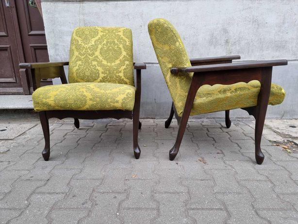 Stare drewniane fotele Ludwik ręczna robota
