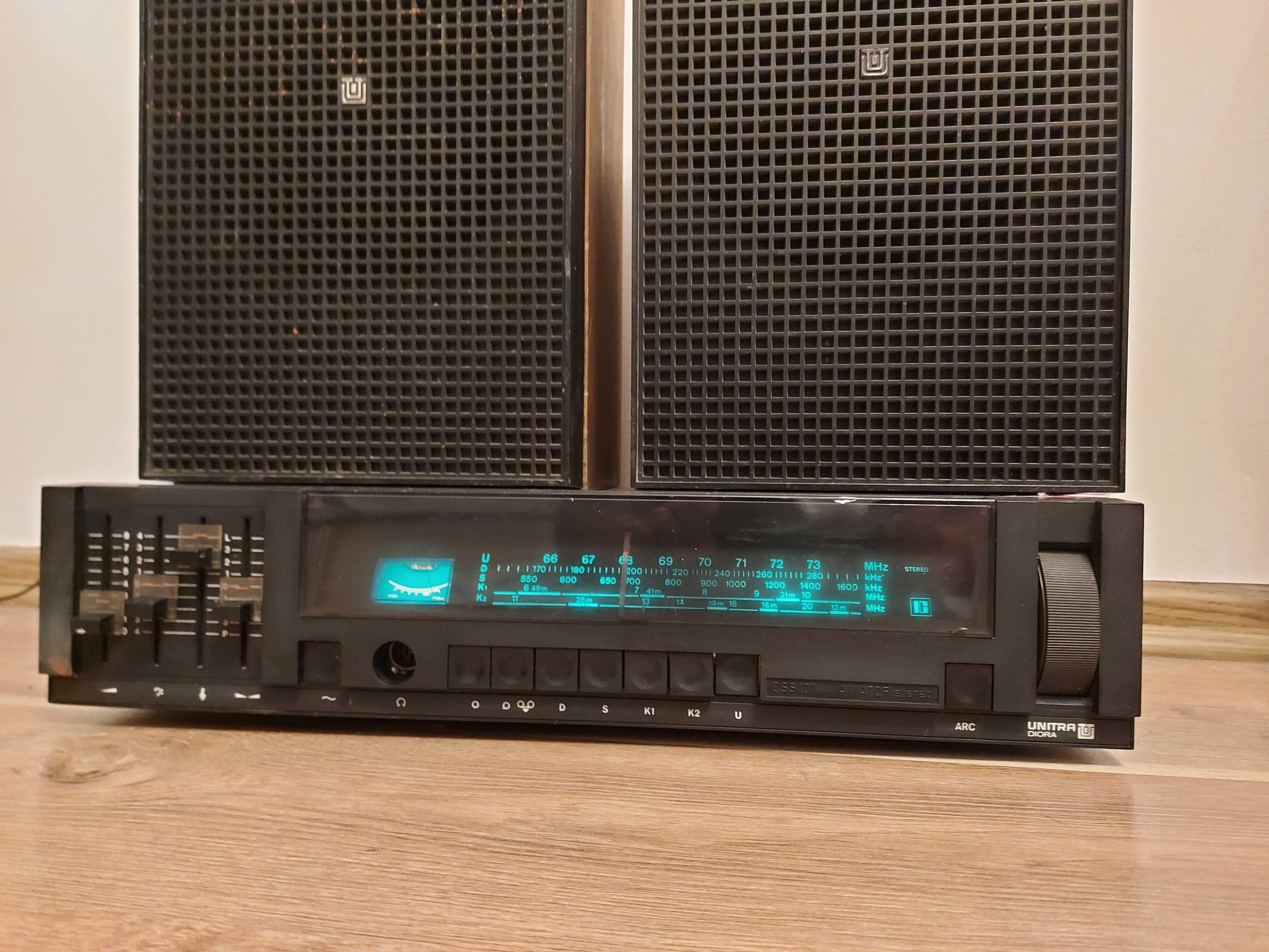 Unitra z czasów PRL radio z głośnikami Tonsil ZG 10 przestrojone