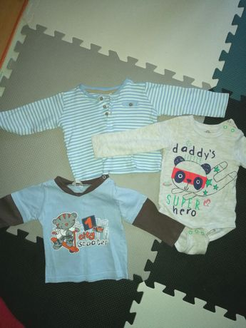 Zestaw ubranek niemowlęcych, długi rękaw, spodnie, body, bluzki r 74