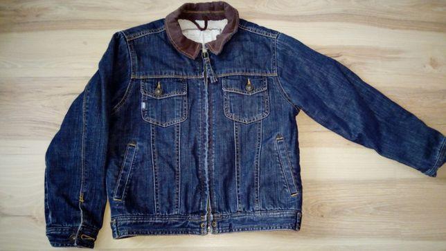 Kurtka jeans 7/8 lat, 128 cm, Marks & Spencer ocieplana