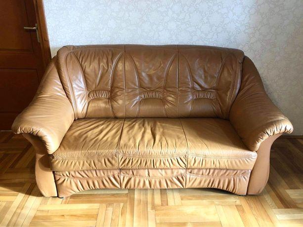 Zestaw - Kanapa i fotele skórzane, brąz