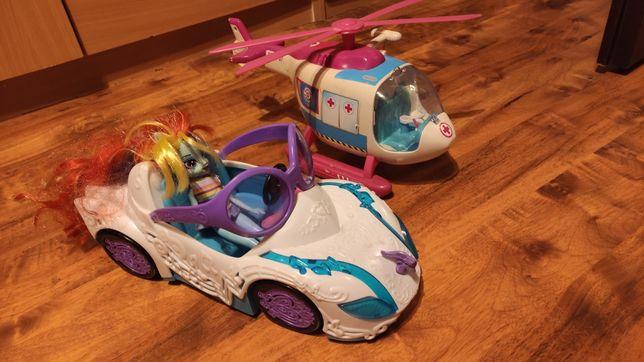 Auto dla lalek i helikopter ratunkowy z opuszczaną liną
