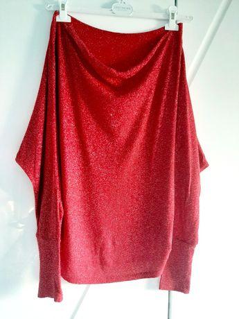 Czerwona świąteczna błyszcząca bluzka L Italy