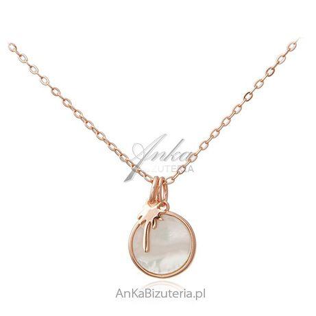 ankabizuteria.pl Srebrny naszyjnik pozłacany różowym złotem z białą ma