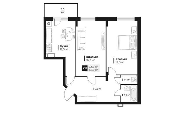Продаж 2 кім. квартири в ЖК OBRIY2, Малоголосківська, площа 65 кв.м