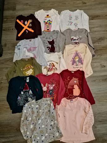 Koszulki bluzeczki długi rękaw 116 zestaw